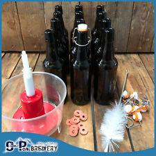 500ml Amber Beer Flip Top Bottle X12, Swing Top Pack,Rinser/Washer, Brush, Seals
