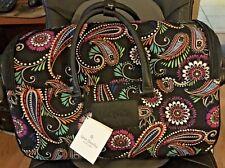 "Vera Bradley Polyester 22"" Rolling Duffel Bag Bandana Swirl Vibrant Colors"