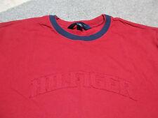 VINTAGE Tommy Hilfiger Shirt Adult Large Red Spell Out Sport Flag Logo Mens 90s