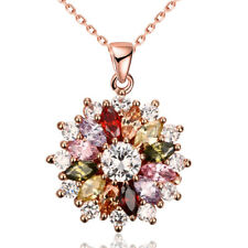 Rose Gold Plated Multi-Color Zircon CZ Crystal Flower Pendant Necklace For Women