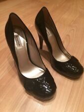Dune Black Patent Leather High Heel Shoes - Size 5 / 38 - Excellent Condition