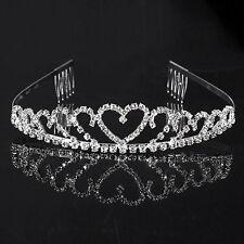 Bridal~Prom~Formal~Pageant~Rhinestone~Hearts~Silvertone Tiara~Beautiful!