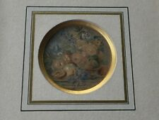 Antique 1842 Original Watercolor Still Life by Manmary Fecit, Framed, Signed