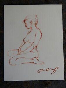 Original small red sanguine pencil life drawing female nude pregnant model