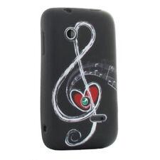 TPU Silikon Case für HTC One M7 Design: Notenschlüssel schwarz weiß Hülle Cover