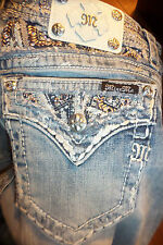 Miss Me Women's Mid-Rise Easy Straight Leg Jeans Bling Pockets sz 28 x 33 NWT