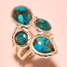 "BLUE COPPER TURQUOISE GEMSTONE 925 SILVER PLATED RING SIZE UK ""P""/US ""8"""