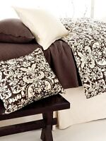 Pine Cone Hill Gianna Damask Twin Duvet Cover Chocolate Brown & Ivory