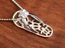 Hawaiian 925 Sterling Silver PLUMERIA TURTLE SLIPPER Pendant Necklace # SS1291