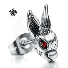 Silver earring made with red swarovski crystal rabbit SINGLE stud soft gothic