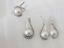 Mabe Pearl Ring, Pendant and Earring Set, Sterling Silver, Ring sz 6