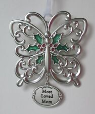aad Most Loved Mom butterfly Holiday light Bright CHRISTMAS ORNAMENT Ganz