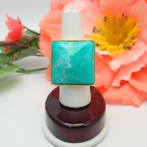 Glow By Sheila Faji Matte Gold Faceted Square Turquoise Size 8 Ring