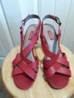 NWOT Women's ECCO Red Leather Strappy Sandals Pumps with high heel Sz 9 (40)