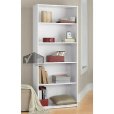 Bookcase 5 Shelf Bookshelf Adjustable Furniture Wood Storage Shelving Book  Set Of 3 Wall   White