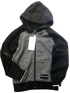 Calvin Klein Jeans Black Gray Boys Full Zip Hoodie Size 5 Mesh Bands On Sleeves