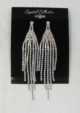 Silver Iridescent Rhinestone Crystal Dangle Earrings Prom Wedding Bridal # 1821