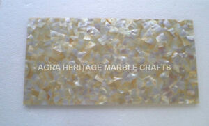 """18""""x24"""" Marble Coffee Bedroom Table Top Yellow Mother of Pearl Inlay Decor E258"""