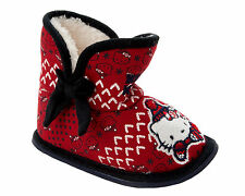 GIRLS HELLO KITTY RED FAUX FUR LINED PULL ON BOOTIES SLIPPERS KIDS UK SIZE 6-12