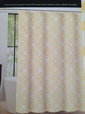 "Max Studio Fabric Shower Curtain Puzzle Geometric Yellow & White Lattice 72""x72"""