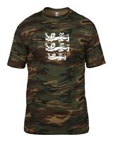 3 LIONS LARGE CREST ENGLAND CRICKET WORLD CUP 2019 CAMO GREEN T-SHIRT MENS