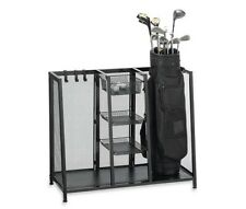 Metal Two Golf Clubs Bag Organizer, Equipment Accessories Storage, Garage Rack