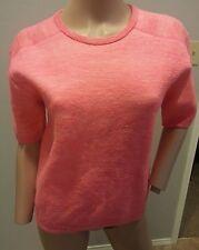 NWOT J Crew Collection Hot Neon Pink Merino Wool Linen Sweatshirt Sweater Top XS