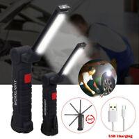 2 Rechargeable COB LED Slim Work Light Lamp Flashlight Inspect Folding Torch