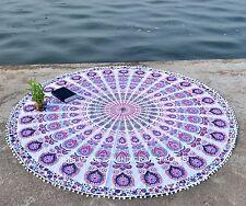 Indian Round Pom Pom Mandala Tapestry Wall Hanging Beach Throw Shakti Yoga Mat