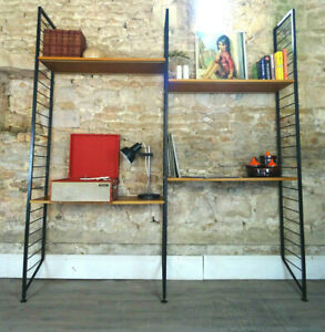 Vintage mid century 1960s teak metal LADDERAX double shelving bookcase DELIVERY
