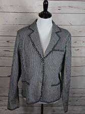 Talbots Size 16 Stretch Navy Blue White Stripe Blazer Jacket Cotton Spandex