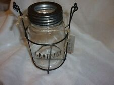 "New Rae Dunn ""Grateful"" Mason Jar 7"" Glass Candle Lantern flower vase"