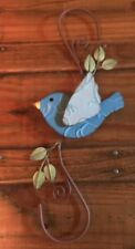 Primitive New Metal Blue Rustic Bird Hanger For Chimes Or Small Birdhouse
