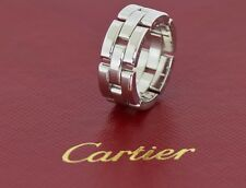 Cartier Panthere Maillon 3 Row 18K White Gold Ring Size 52 New