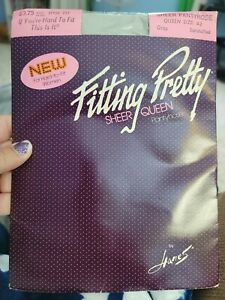 Hanes Fitting Pretty Sheer Pantyhose Sandalfoot~Gray Queen Size A2 #251