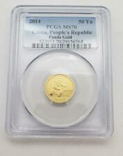 New Listing2014 China 1/10th ozt. 999 Gold Panda 50 Yuan Coin Pcgs Ms70 L9017