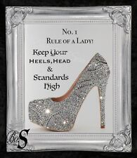 Shoe Quote Glitter Canvas Picture Silver Shabby Chic frame , Wall Art.