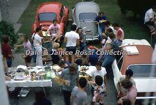 M042 35mm Slide Backyard Party!  VW Bug, Guitar 1972 Kodachrome Transparency
