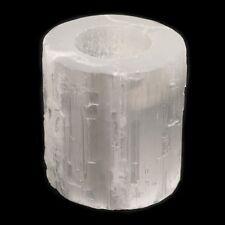 Large white selenite crystal tea light candleholder - home garden party or gift