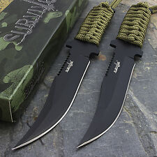 "2 x 7.5"" TACTICAL COMBAT BOWIE FIXED BLADE HUNTING KNIFE Military Survival"
