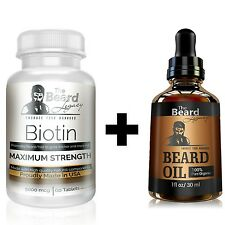 BEARD GROWTH KIT - Biotin #1 Beard Supplement/Vitamin. For Thicker and Fuller Fa