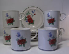 HORNSEA 6 x Mug and 6 x Side Plate Rose / Floral VINTAGE JOB LOT Set of 6