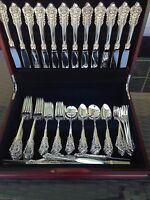 COMPLETE 72 PC OLD HEAVY SET WALLACE GRANDE BAROQUE STERLING FLATWARE SETTING