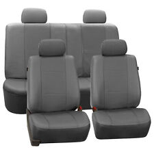 Faux Leather Car Seat Covers For Auto SUV Gray W/ 4 Headrest Covers