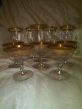 Vintage gold rimmed cordial wine glasses goblets set of 10
