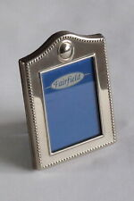 """Silver plated 'Fairfield' photo frame beaded edging & cartouche 3""""x2"""" aperture"""