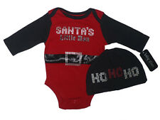 NWT Newborn Baby Glam Boy Red Chistmas Santa's Little Man Bodysuit & Hat Outfit