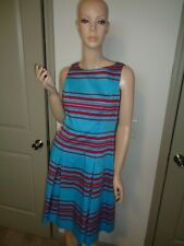 TALBOTS BLUE AND READ STRIPED SLEEVELESS CASUAL DRESS SIZE: 6P
