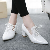 Womens Casual Pointed Toe Lace Up Oxfords Solid Low Top Block Mid Heels Shoes