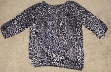 EUC Express Leopard Print Sheer Top Shirt Size XS X-Small